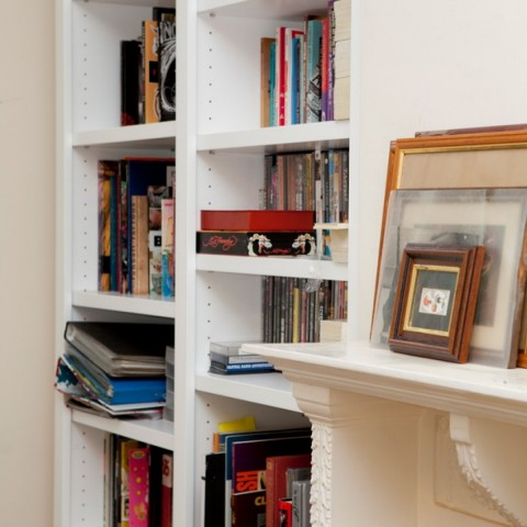 White fitted Bookshelves London