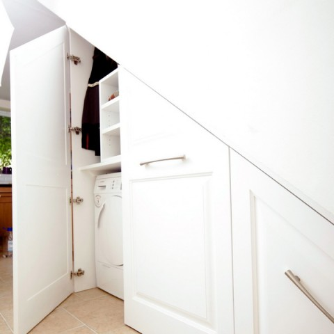 Under stairs storage, washing Machine And Dryer
