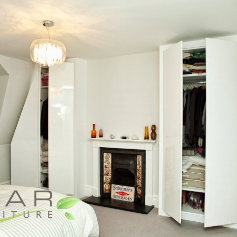 Fitted High Gloss Bedroom Furniture, London, Doors opened