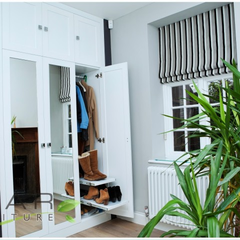 09 white modern wardrobe with shoe pull out drawers