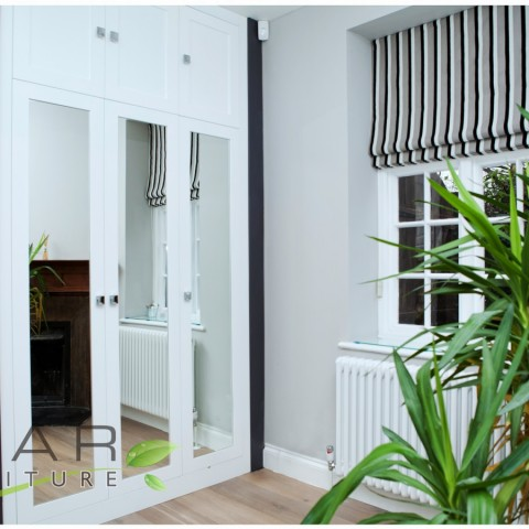 2 bespoke fitted wardrobes London, Mirror Doors