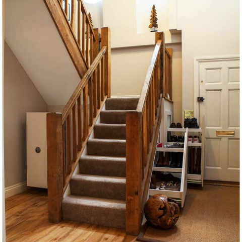 Square and angled under stair storage