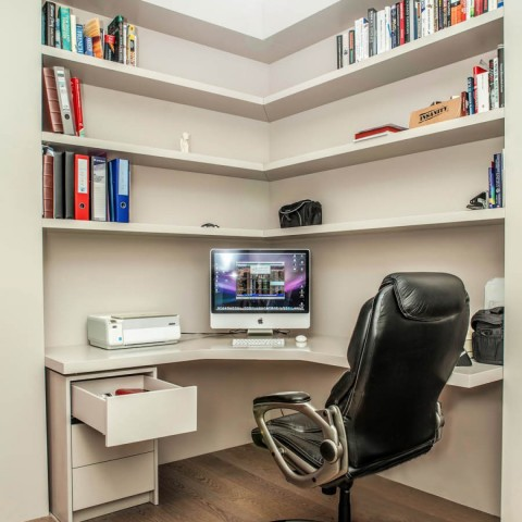 'L' shaped office floating shelves